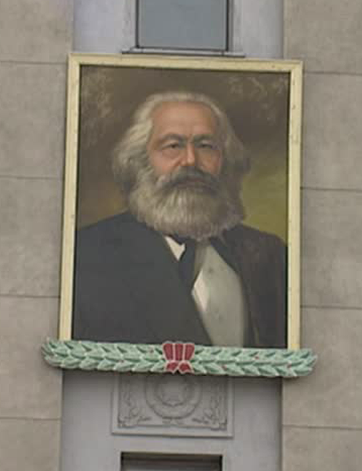 portrait of karl marx in kim il-sung square, Pyongyang