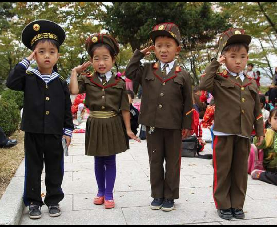 toddlers salute for North Korea