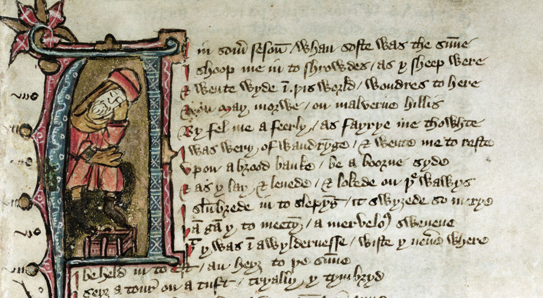 opening page of piers plowman manuscript, partial