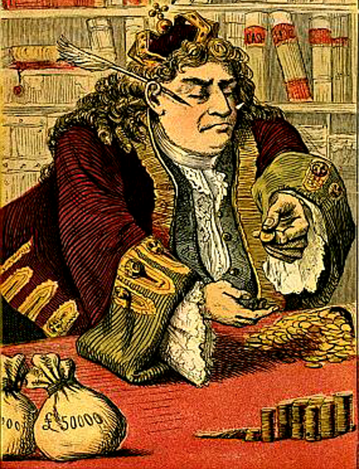 Illustration of king counting his mo ey from Sing a Song of Sixpence