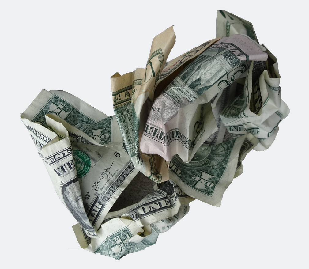 photo of crumpled dollars
